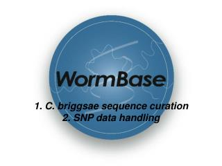 1. C. briggsae sequence curation 2. SNP data handling