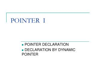 POINTER  I