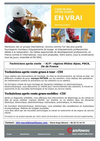 Techniciens après vente   - H/F - régions Rhône Alpes, PACA,  Ile de France