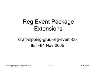 Reg Event Package Extensions