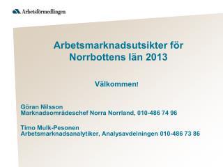 Arbetsmarknadsutsikter för Norrbottens län 2013