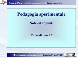 Nicola Paparella , Universit� degli Studi, Lecce, marzo 2006