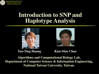 Introduction to SNP and Haplotype Analysis