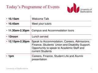 Today's Programme of Events
