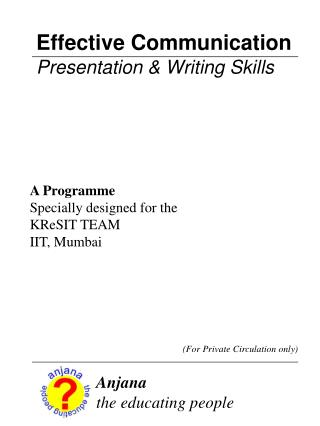 Effective Communication Presentation & Writing Skills
