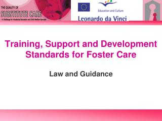Training, Support and Development Standards for Foster Care