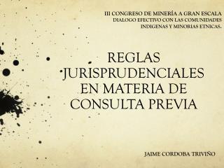 REGLAS JURISPRUDENCIALES EN MATERIA DE CONSULTA PREVIA