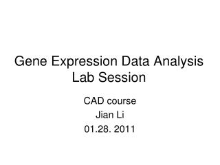 Gene Expression Data Analysis  Lab Session