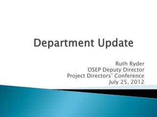 Department Update