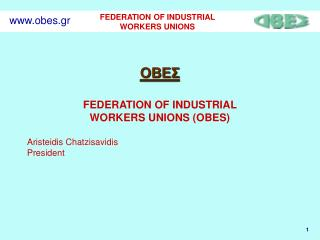 ΟΒΕΣ FEDERATION OF INDUSTRIAL  WORKERS UNIONS (OBES) Aristeidis Chatzisavidis President
