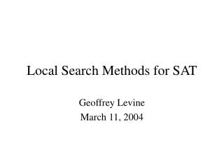Local Search Methods for SAT