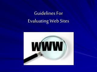 Guidelines For  Evaluating Web Sites