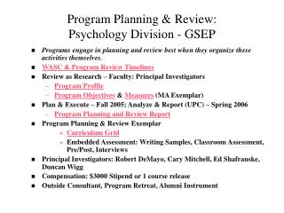 Program Planning & Review: Psychology Division - GSEP