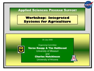 Workshop:  Integrated Systems for Agriculture