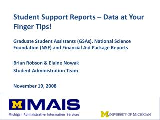 Student Support Reports – Data at Your Finger Tips!