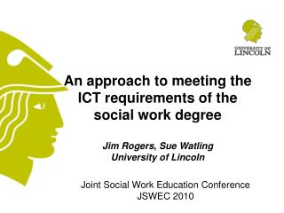 Joint Social Work Education Conference  JSWEC 2010