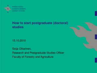 How to start postgraduate (doctoral) studies