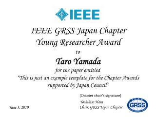 IEEE GRSS Japan Chapter  Young Researcher Award