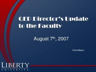 QEP Director's Update to the Faculty