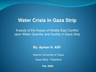 Water Crisis in Gaza Strip