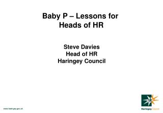 Baby P – Lessons for  Heads of HR