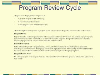 Program Review Cycle