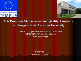 MSc Programs Management and Quality Assurance