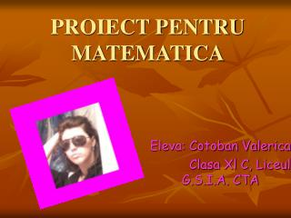 PROIECT PENTRU MATEMATICA