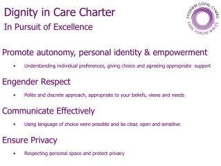 Dignity in Care Charter  In Pursuit of Excellence