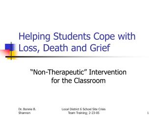 Helping Students Cope with Loss, Death and Grief