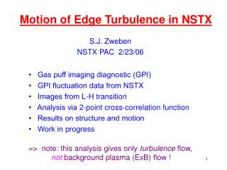 Motion of Edge Turbulence in NSTX