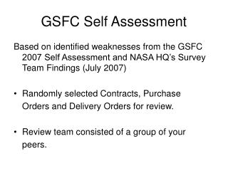 GSFC Self Assessment