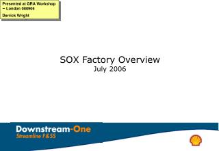 SOX Factory Overview July 2006