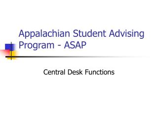 Appalachian Student Advising Program - ASAP