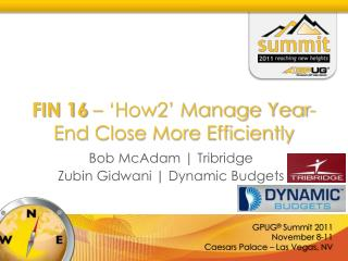 FIN 16  – 'How2' Manage Year-End Close More Efficiently