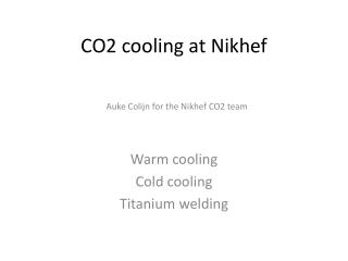CO2 cooling at Nikhef