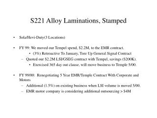S221 Alloy Laminations, Stamped