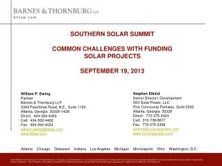 SOUTHERN SOLAR SUMMIT COMMON CHALLENGES WITH FUNDING  SOLAR PROJECTS SEPTEMBER 19, 2013