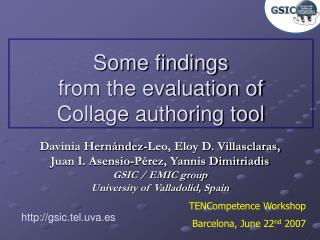 Some findings  from the evaluation of  Collage authoring tool