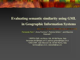Evaluating semantic similarity using GML  in Geographic Information Systems