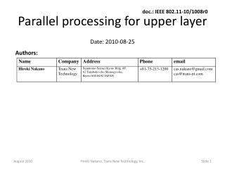 Parallel processing for upper layer
