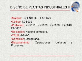 DISEÑO DE PLANTAS INDUSTRIALES II