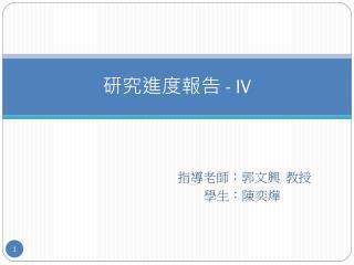 研究進度報告  - IV