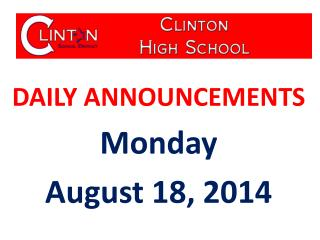 DAILY ANNOUNCEMENTS Monday August 18, 2014