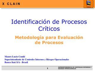 Identificación de Procesos Críticos Metodología para Evaluación de Procesos
