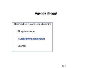 Agenda di oggi