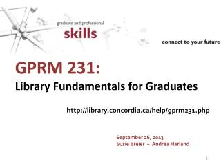GPRM 231:  Library Fundamentals for Graduates