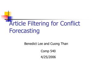 Article Filtering for Conflict Forecasting