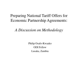 Preparing National Tariff Offers for Economic Partnership Agreements: A Discussion on Methodology
