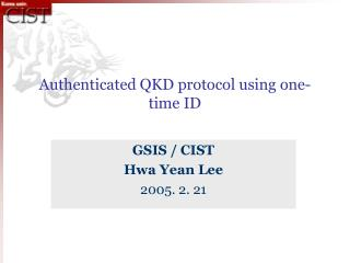 Authenticated QKD protocol using one-time ID